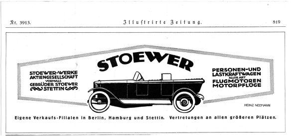 Stoewer-Originalreklame um 1920