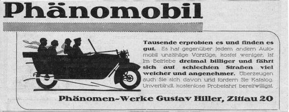 Phänomobil-Reklame